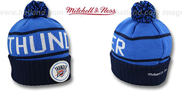 Thunder HIGH-5 CIRCLE BEANIE Blue-Navy by Mitchell and Ness