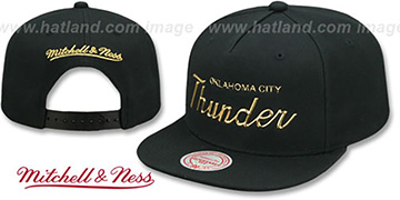Thunder LIQUID METALLIC SCRIPT SNAPBACK Black-Gold Hat by Mitchell and Ness