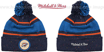Thunder 'SPECKLED' Navy-Royal Knit Beanie by Mitchell and Ness