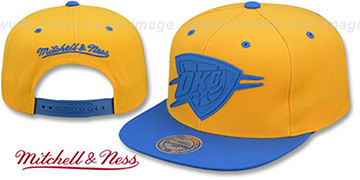 Thunder XL RUBBER WELD SNAPBACK Gold-Blue Adjustable Hat by Mitchell and Ness