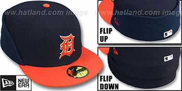 Tigers CLEAN CUT FLIP-DOWN Navy-Orange Fitted Hat by New Era