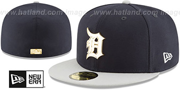 Tigers 'GOLDEN-BADGE' Navy-Grey Fitted Hat by New Era
