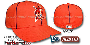 Tigers 'PIPING' Fitted Hat by New Era - orange-navy