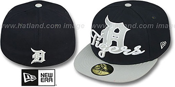 Tigers 'SCRIPT-PUNCH' Navy-Grey Fitted Hat by New Era