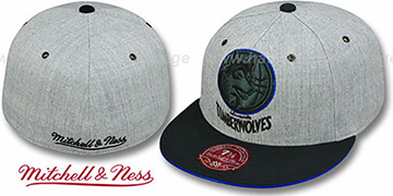 Timberwolves '2T XL-LOGO FADEOUT' Grey-Black Fitted Hat by Mitchell & Ness