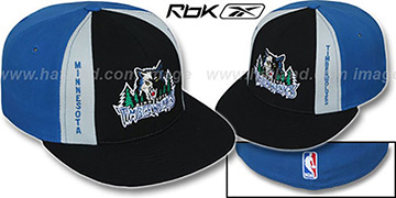 Timberwolves AJD PINWHEEL Black-Blue Fitted Hat by Reebok