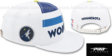 Timberwolves 'HORIZON STRAPBACK' White Hat by Pro Standard