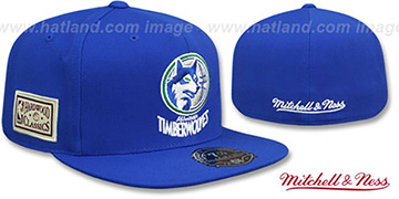 Timberwolves HWC SIDE-PATCH Royal Fitted Hat by Mitchell and Ness