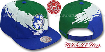 Timberwolves PAINTBRUSH SNAPBACK Green-White-Royal Hat by Mitchell & Ness