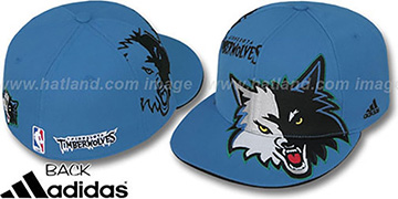 Timberwolves SLAM DUNK Fitted Hat by adidas - blue
