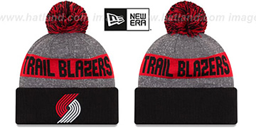 Trail Blazers 'ARENA SPORT' Black-Red Knit Beanie Hat by New Era