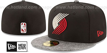 Trail Blazers 'GRIPPING-VIZE' Black-Grey Fitted Hat by New Era