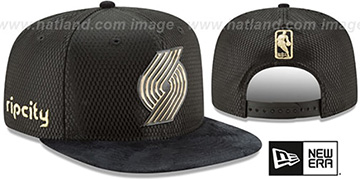 Trailblazers '2017 NBA ONCOURT SNAPBACK' Black-Gold Hat by New Era