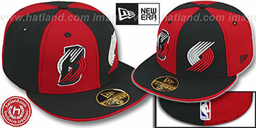 Trailblazers DOUBLE WHAMMY 2 Red-Black Fitted Hat
