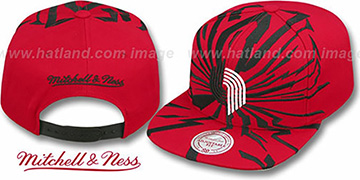 Trailblazers 'EARTHQUAKE SNAPBACK' Red Hat by Mitchell & Ness