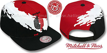 Trailblazers PAINTBRUSH SNAPBACK Red-White-Black Hat by Mitchell & Ness