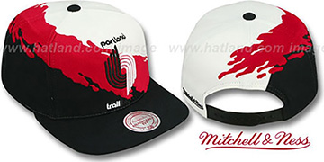 Trailblazers 'PAINTBRUSH SNAPBACK' White-Red-Black Hat by Mitchell & Ness