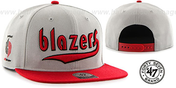Trailblazers 'SCRIPT-SIDE SNAPBACK' Grey-Red Hat by Twins 47 Brand