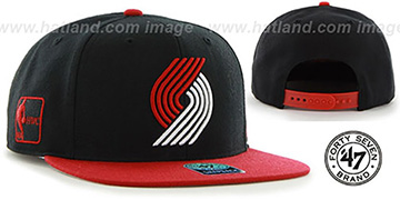 Trailblazers 'SURE-SHOT SNAPBACK' Black-Red Hat by Twins 47 Brand