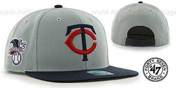 Twins COOP 'SURE-SHOT SNAPBACK' Grey-Navy Hat by Twins 47 Brand