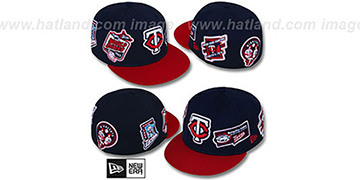 Twins DEEZ PATCHES Navy-Red Fitted Hat by New Era