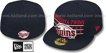 Twins STAR STUDDED Navy Fitted Hat by New Era
