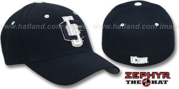 UConn 'DH' Navy Fitted Hat by Zephyr