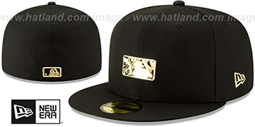 Umpire GOLD SHATTERED METAL-BADGE Black Fitted Hat by New Era
