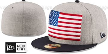 United States HEATHER GRAND Grey-Navy Fitted Hat by New Era