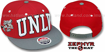 UNLV 2T SUPER-ARCH SNAPBACK Red-Grey Adjustable Hat by Zephyr