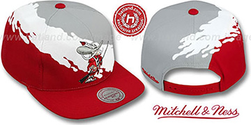 UNLV 'PAINTBRUSH SNAPBACK' Grey-White-Red Hat by Mitchell & Ness