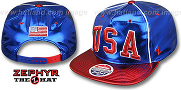 USA 'SATIN SUPERSTAR SNAPBACK' Royal-Red Hat by Zephyr