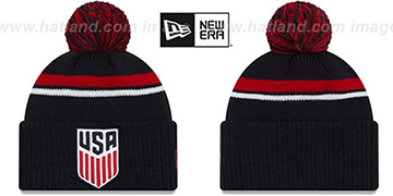 USA TEAM-STACKER Navy Knit Beanie Hat by New Era