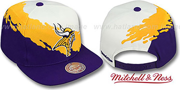 Vikings  'PAINTBRUSH SNAPBACK' White-Gold-Purple Hat by Mitchell & Ness