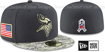 Vikings '2016 SALUTE-TO-SERVICE' Grey-Desert Fitted Hat by New Era
