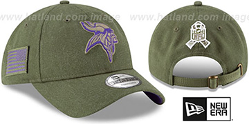 Vikings 2018 SALUTE-TO-SERVICE STRAPBACK Olive Hat by New Era