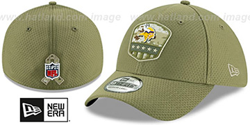 Vikings 2019 SALUTE-TO-SERVICE FLEX Olive Hat by New Era