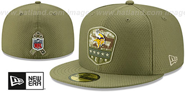 Vikings 2019 SALUTE-TO-SERVICE Olive Fitted Hat by New Era