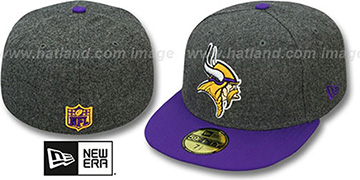 Vikings '2T NFL MELTON-BASIC' Grey-Purple Fitted Hat by New Era