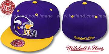 Vikings '2T XL-HELMET' Purple-Gold Fitted Hat by Mitchell & Ness