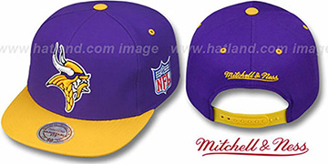 Vikings 2T XL-LOGO SNAPBACK Purple-Gold Adjustable Hat by Mitchell and Ness