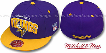 Vikings NFL 2T ARCH TEAM-LOGO Purple-Gold Fitted Hat by Mitchell & Ness