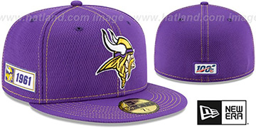 Vikings ONFIELD SIDELINE ROAD Purple Fitted Hat by New Era