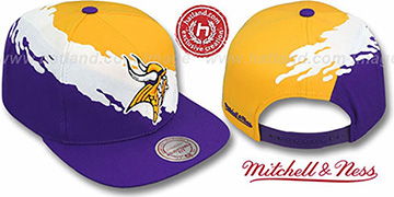 Vikings 'PAINTBRUSH SNAPBACK' Gold-White-Purple Hat by Mitchell & Ness