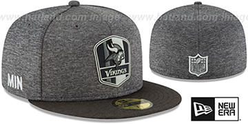 Vikings 'ROAD ONFIELD STADIUM' Charcoal-Black Fitted Hat by New Era