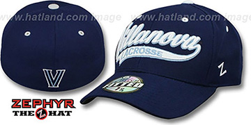 Villanova 'SWOOP LACROSSE' Navy Fitted Hat by Zephyr
