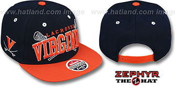 Virginia 'LACROSSE SUPER-ARCH SNAPBACK' Navy-Orange Hat by Zephyr