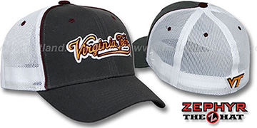 Virginia Tech SCRIPT-MESH Fitted Hat by Zephyr - grey-white