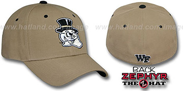 Wake Forest 'DHS' Fitted Hat by Zephyr - khaki