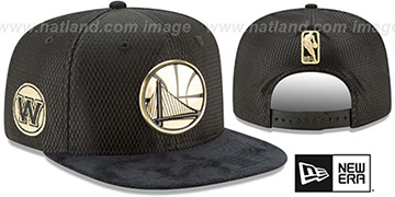 Warriors '2017 NBA ONCOURT SNAPBACK' Black-Gold Hat by New Era